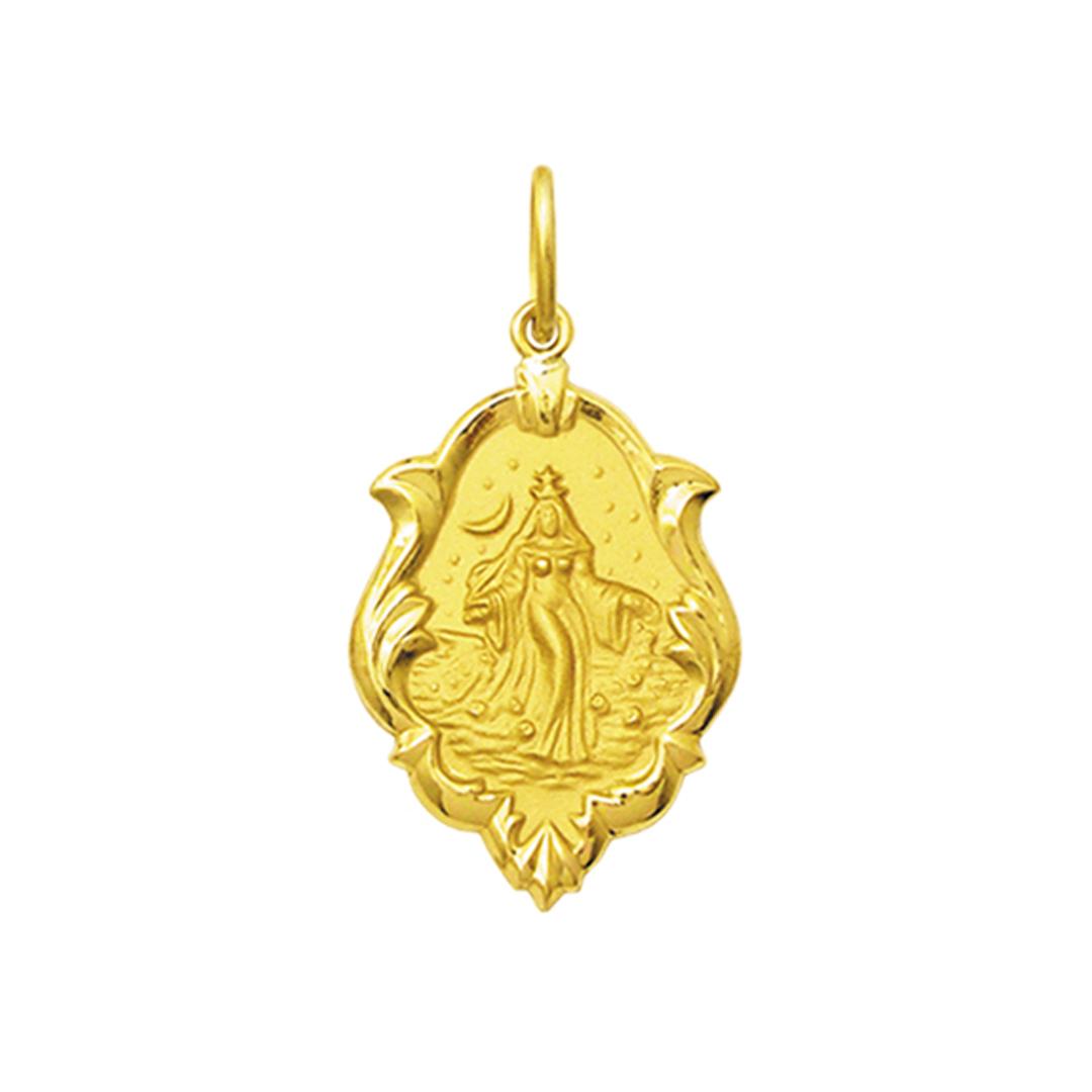 Pingente Medalha Iemanjá Orixá Ouro 18K Ornato Médio K130
