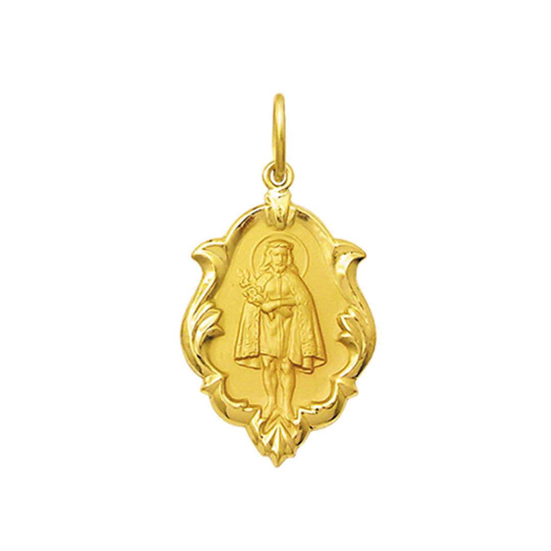Pingente Medalha Jesus De Pirapora Em Ouro 18K Ornato Média K130