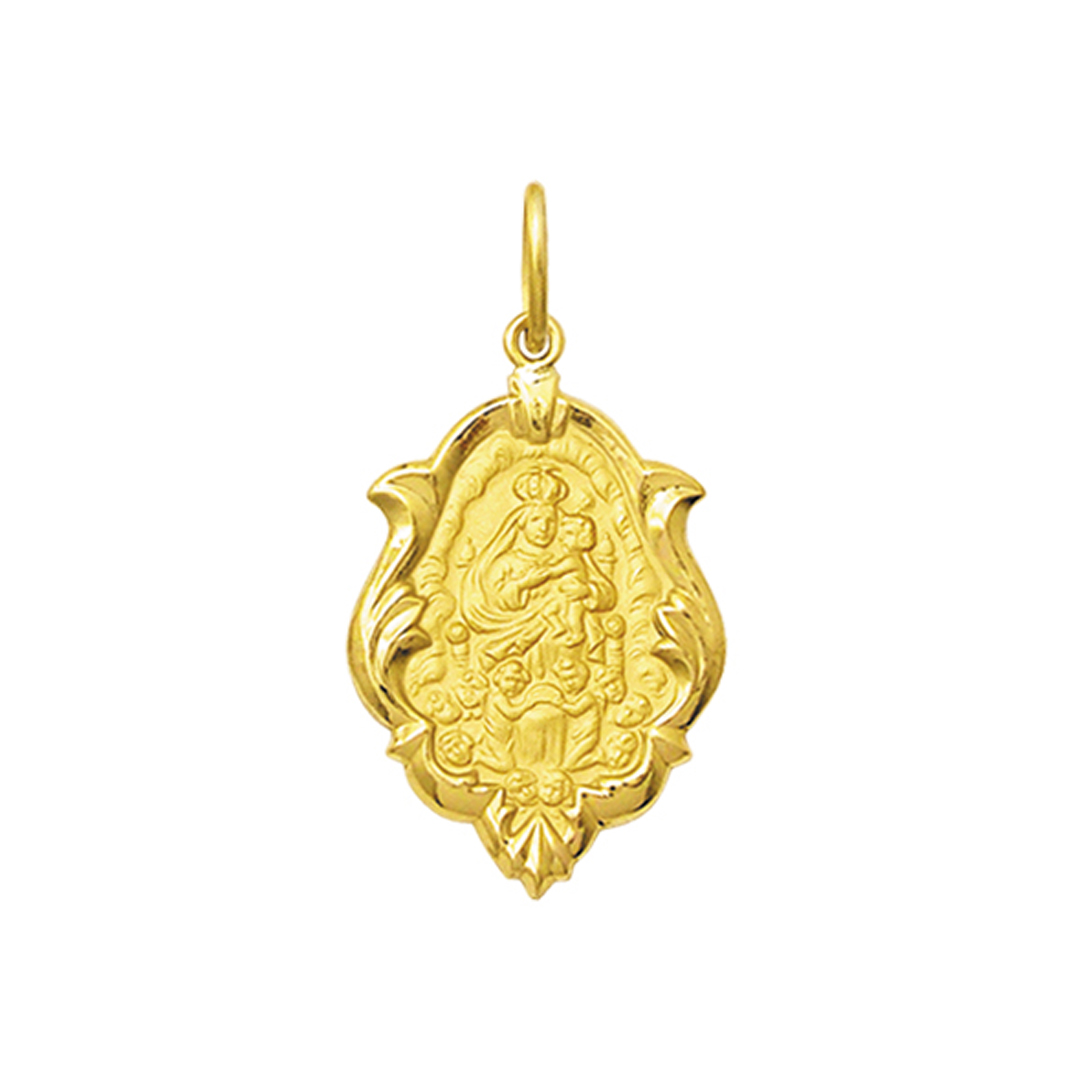 Pingente Medalha Mont Serrat Em Ouro 18K Ornato Grande K230