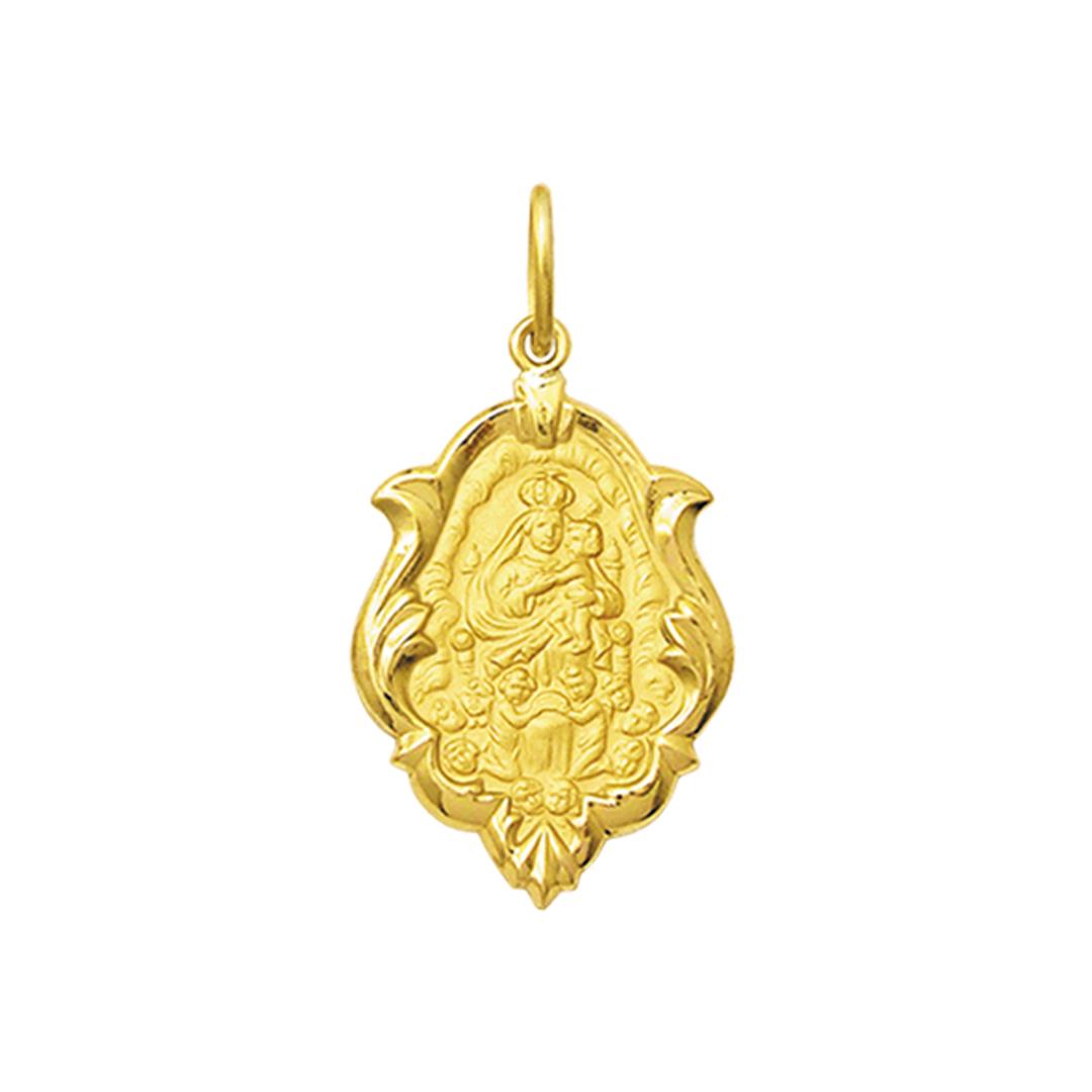 Pingente Medalha Mont Serrat Em Ouro 18K Ornato Médio K130