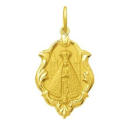 Pingente Medalha Nossa Senhora Aparecida Ornato Ouro 18K Pequena K070