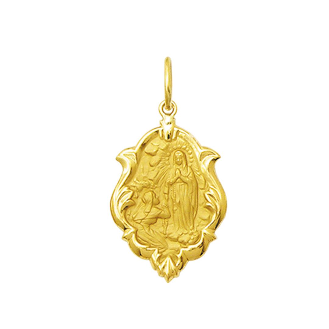 Pingente Medalha Nossa Senhora De Lourdes Ouro 18K Ornato Média K130