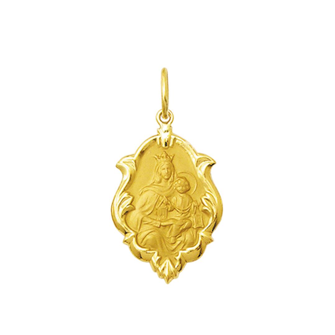 Pingente Medalha Nossa Senhora Do Carmo Ouro 18K Ornato Média K130