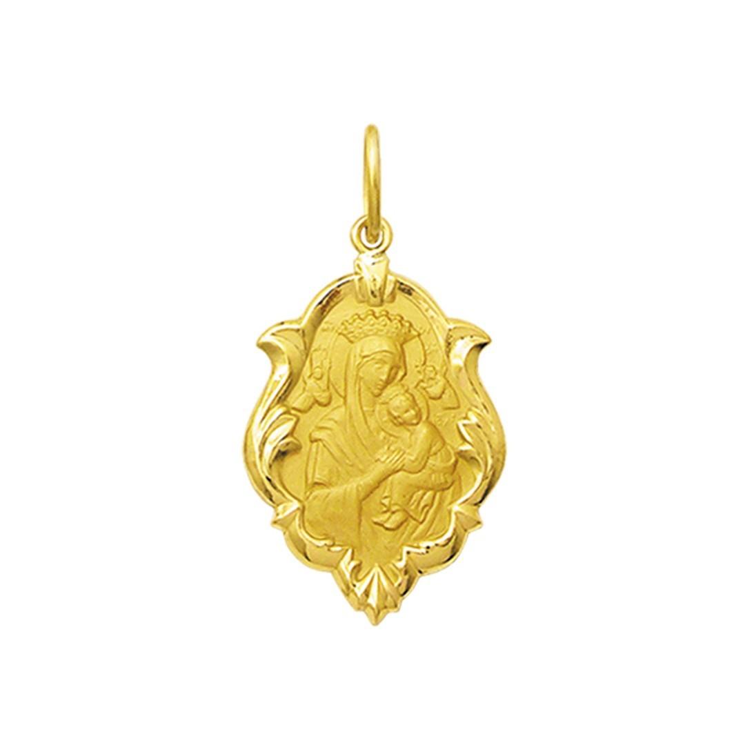 Pingente Medalha Nossa Senhora Perpetuo Socorro Ouro 18K Ornato Pequena K070