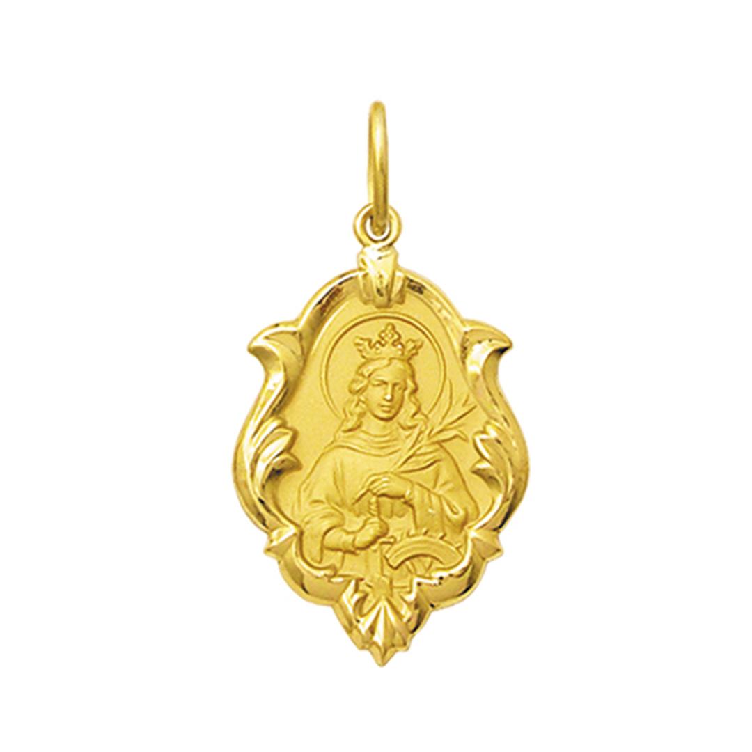 Pingente Medalha Santa Catarina Em Ouro 18K Ornato Média K130