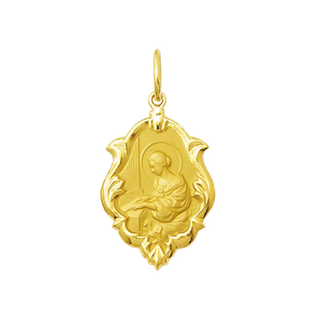 Pingente Medalha Santa Cecilia Em Ouro 18K Ornato Grande K230