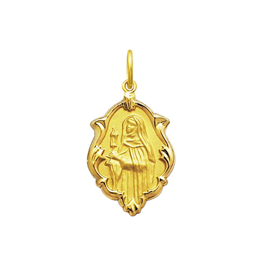 Pingente Medalha Santa Clara Em Ouro 18K Ornato Média K130