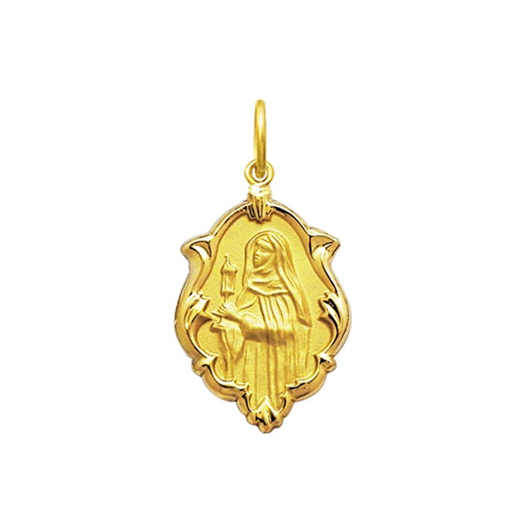 Pingente Medalha Santa Clara Em Ouro 18K Ornato Pequena K070