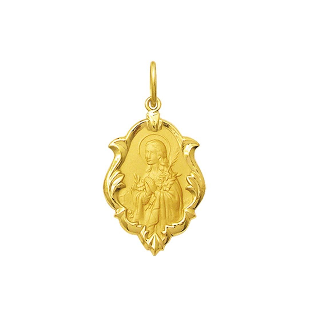 Pingente Medalha Santa Gorete Em Ouro 18K Ornato Pequena K070