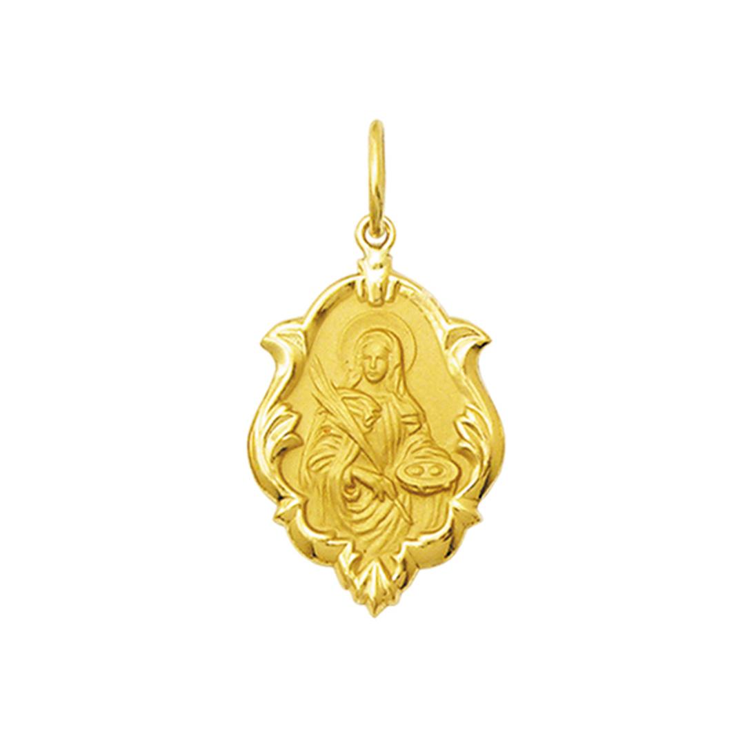 Pingente Medalha Santa Luzia Ouro 18K Ornato Média K130
