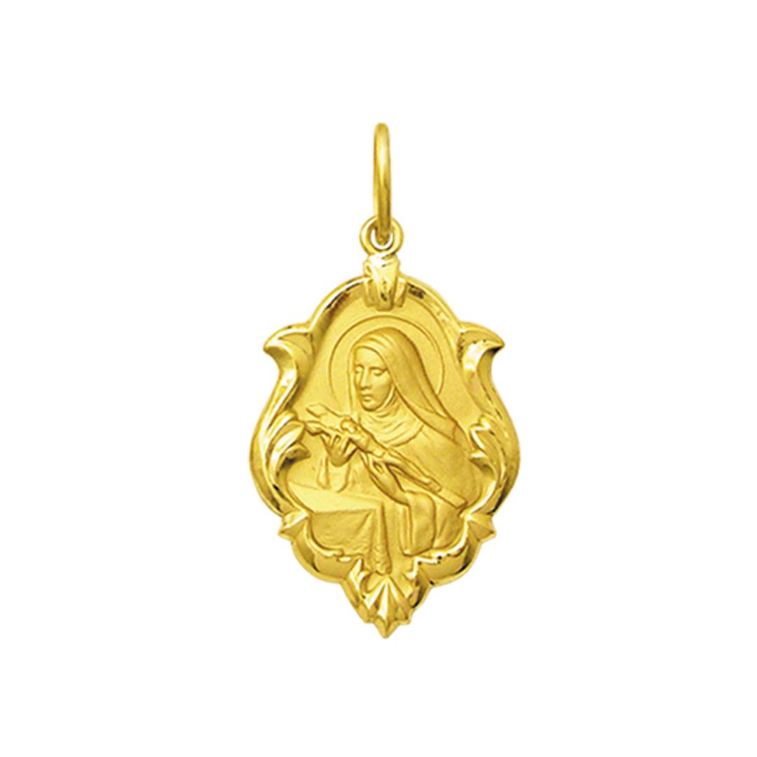 Pingente Medalha Santa Rita Cássia Ouro 18K Ornato Pequena K070