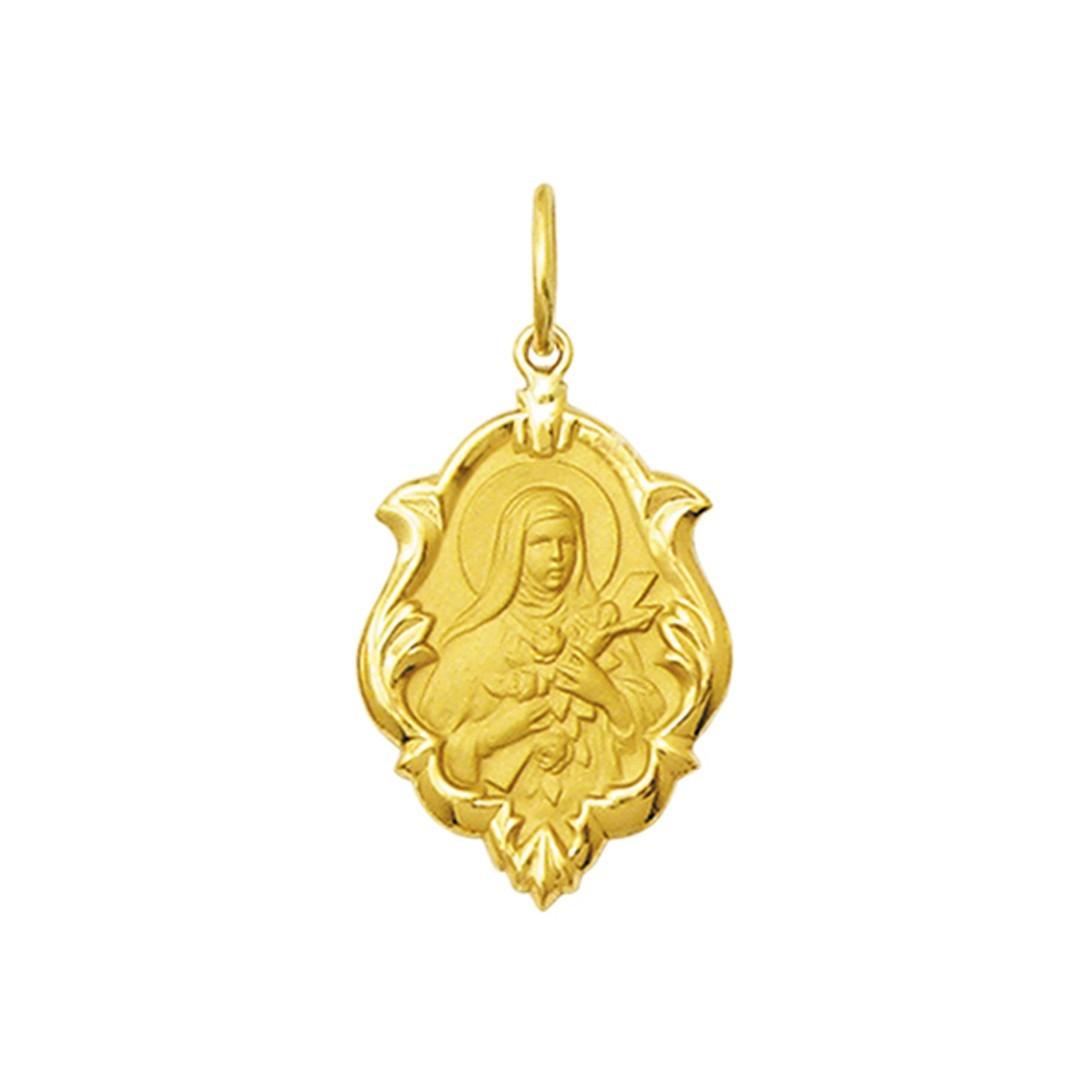 Pingente Medalha Santa Teresinha Em Ouro 18K Ornato Pequena K070