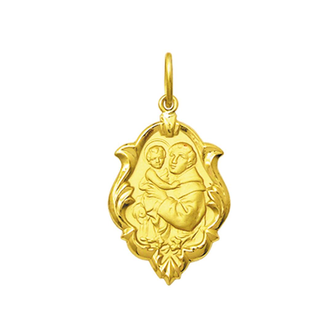 Pingente Medalha Santo Antônio Em Ouro 18K Ornato Média K130