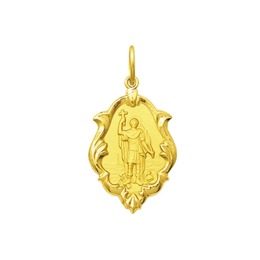 Pingente Medalha Santo Expedito Em Ouro 18K Ornato Média K130