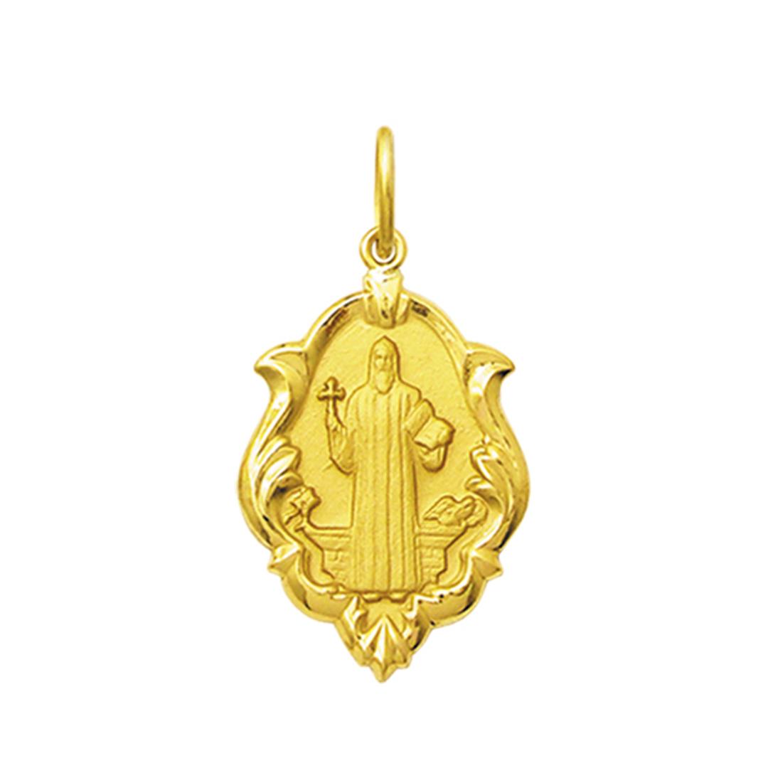 Pingente Medalha São Bento Ouro 18K Ornato Grande K230