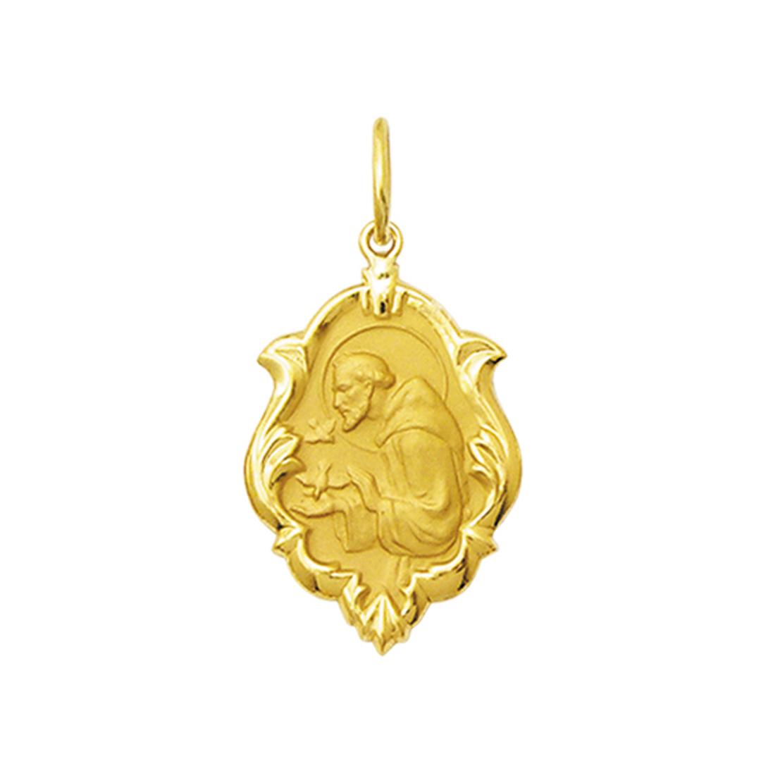 Pingente Medalha São Francisco Ouro 18K Ornato Grande K230