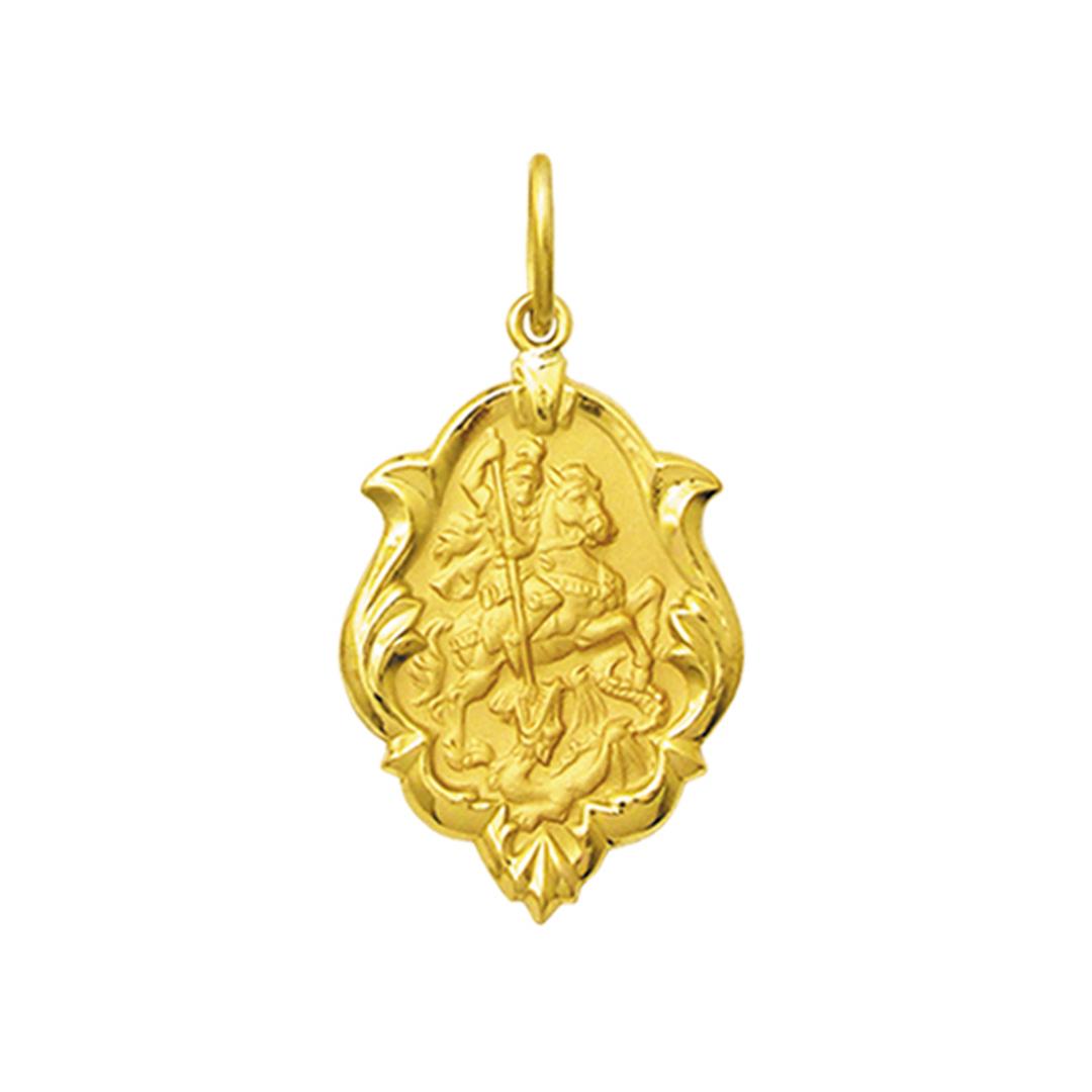 Pingente Medalha São Jorge Ouro 18K Ornato Grande K230