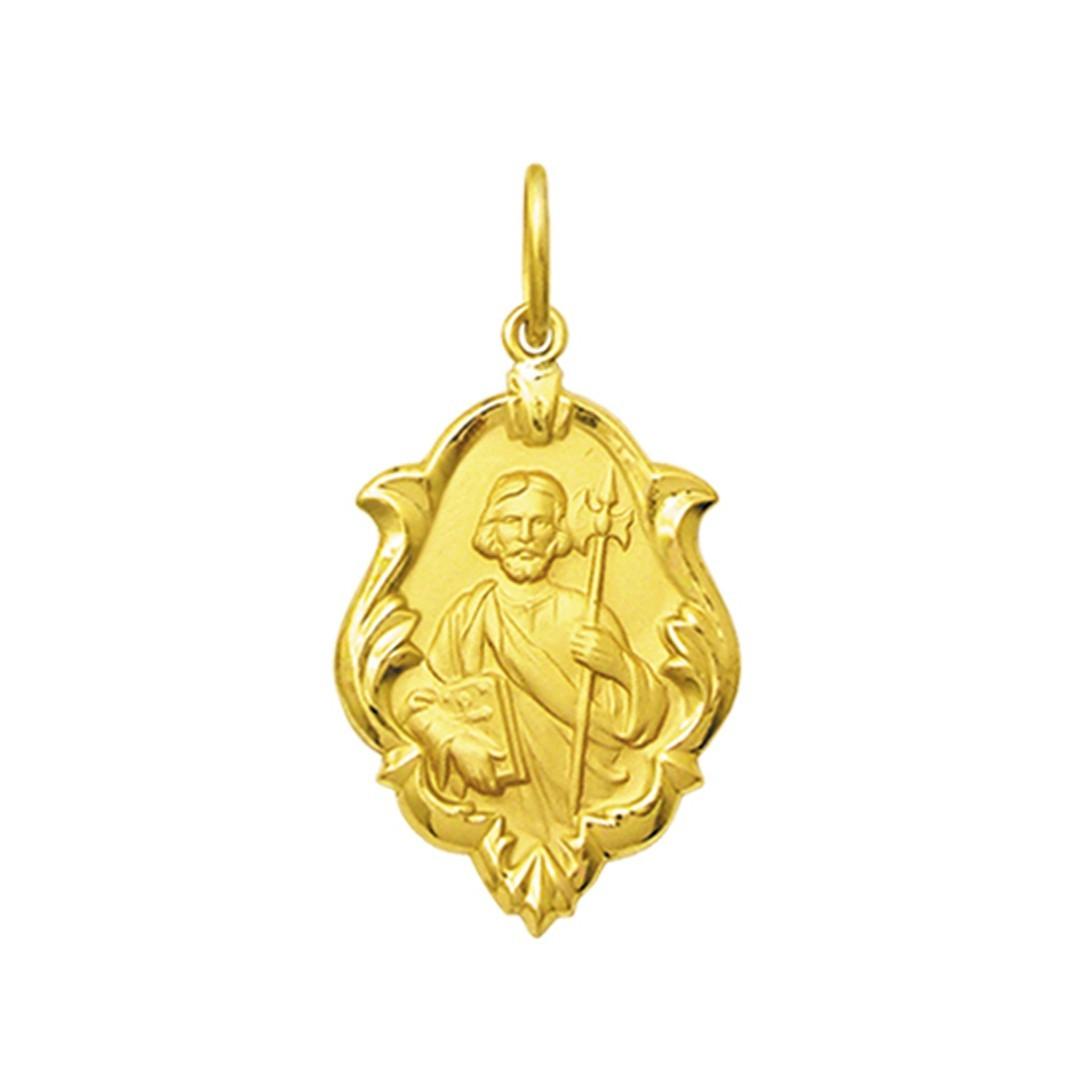 Pingente Medalha São Judas Tadeu Em Ouro 18K Ornato Pequena K070