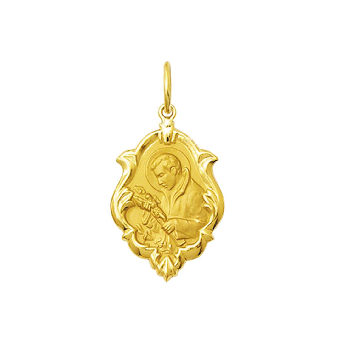 Pingente Medalha São Luiz Em Ouro 18K Ornato Grande K230