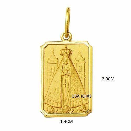 Pingente Nossa Senhora Aparecida Ouro 18K Retangular 2Cm K270