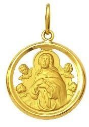 Pingente Nossa Senhora Da Conceição Ouro 18K Dmr 2V 210 Com Aro