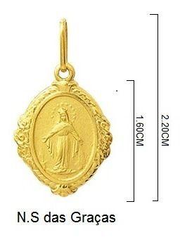 Pingente Nossa Senhora Das Graças Oval Ouro 18K Dmr6 K110