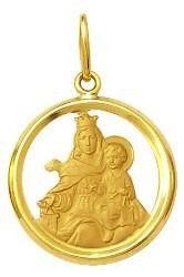 Pingente Nossa Senhora Do Carmo Ouro 18K Dmr 2V 210 Aro