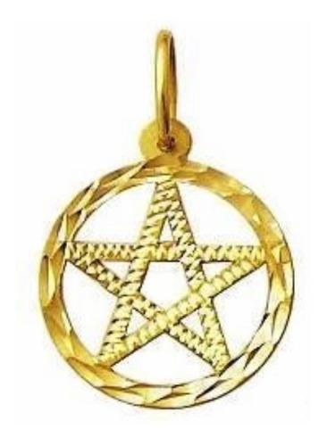 Pingente Pentagrama 15mm Estrela De 5 Pontas Ouro 18k k080