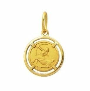 Pingente Sagitário Signos Com Aro Em Ouro 18K K1,50