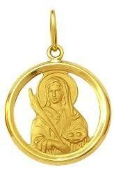 Pingente Santa Luzia Ouro 18K Dmr 2V 14 K210