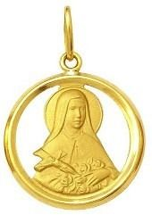 Pingente Santa Teresinha Ouro 18K Dmr 2V 13 210