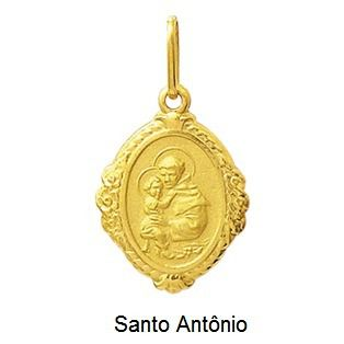 Pingente Santo Antônio Ouro Borda 18K Dmr6 3 K110