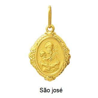 Pingente São José Moldura Oval Ouro 18K Dmr6 4 K110
