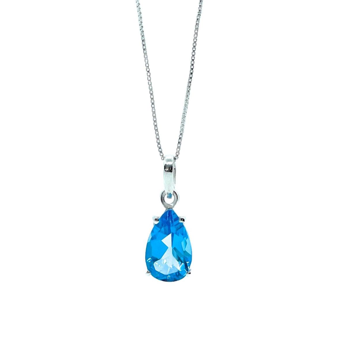 Pingente Topázio Azul Natural Swiss Blue Extra Gota 14 Milimetros