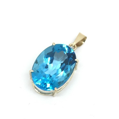 Pingente Topázio Azul Swiss Blue Natural Oval 18 Milimetros Em Ouro 18K