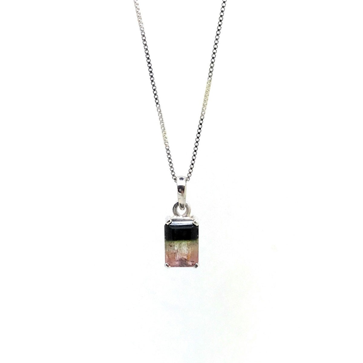 Pingente Turmalina Melancia Bicolor 1,65 Cts Prata De Lei 25772