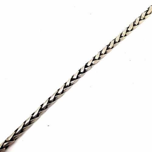 Pulseira Trançada Tradicional 3,5 Milímetros Em Prata De Lei 06988