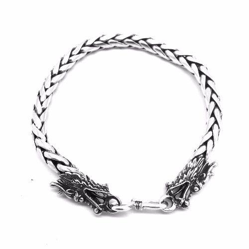 Pulseira Trançada Tradicional 5,5 Milímetros Dragão Prata De Lei 14017