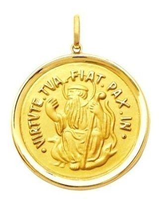 São Bento Medalha Dupla Face Tradicional 39 Milimetros Ouro 18K K1250