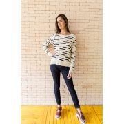 Suéter Tricot com Listras Irregulares