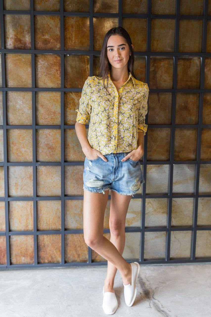 Camisa Manga Longa Estampa Floral