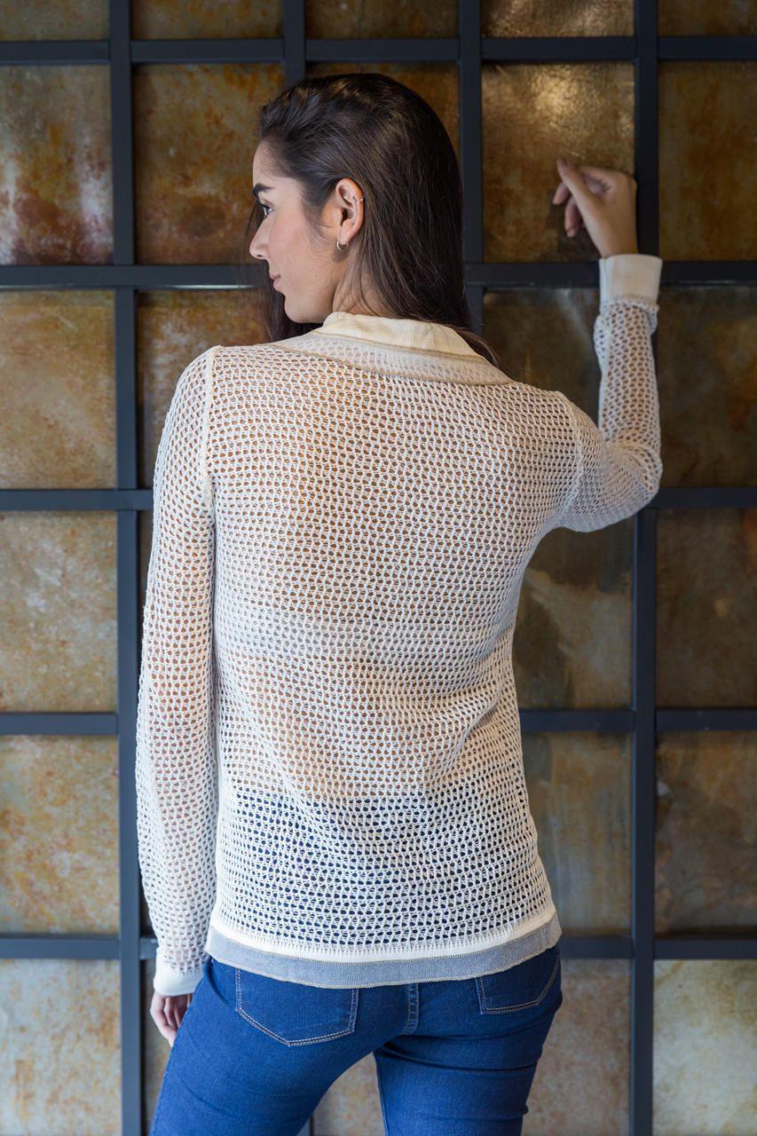 Camisa Polo Manga Longa Tricot