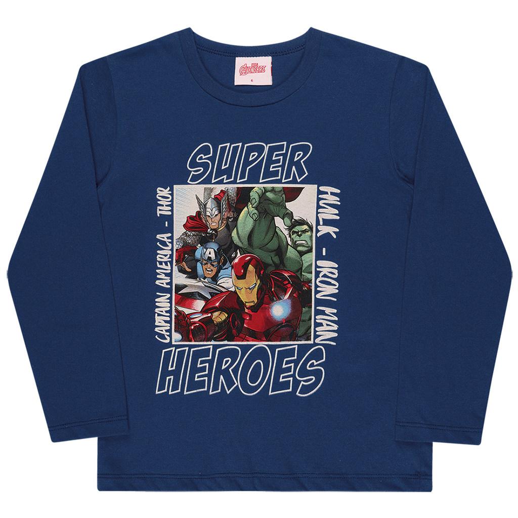 Camiseta Manga Longa Vingadores Super Heróis