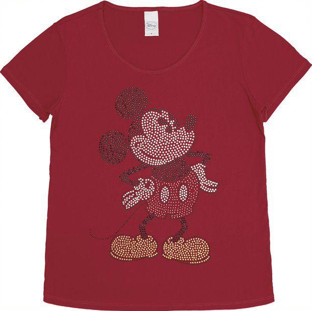 Camiseta com Aplicações Mickey em Strass