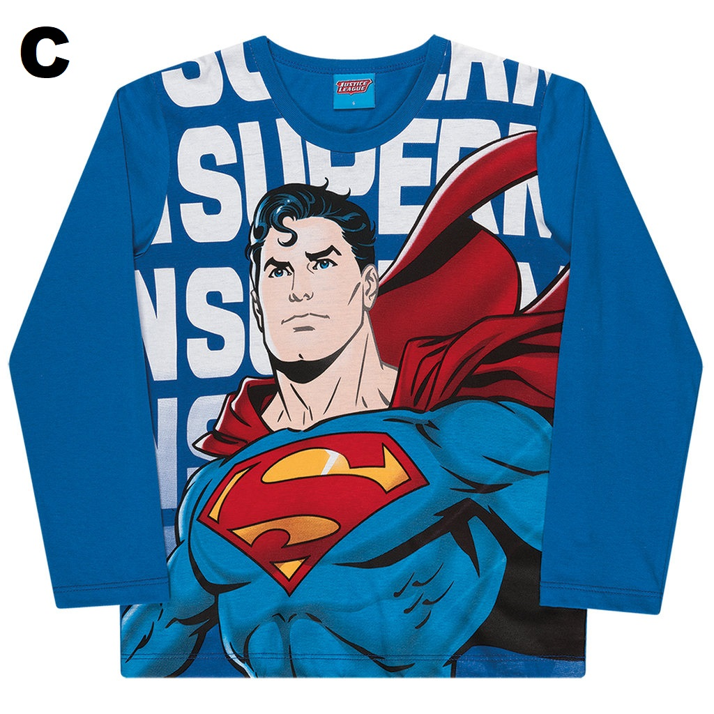 Kit Personalizado 3 Camisetas Manga Longa Menino Super Herói
