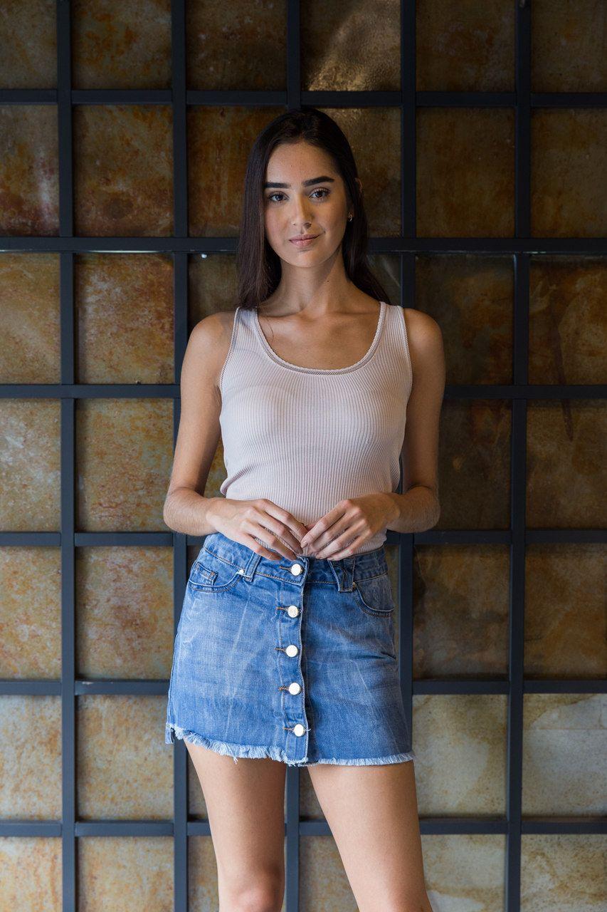 Saia Jeans com Botões Frontais