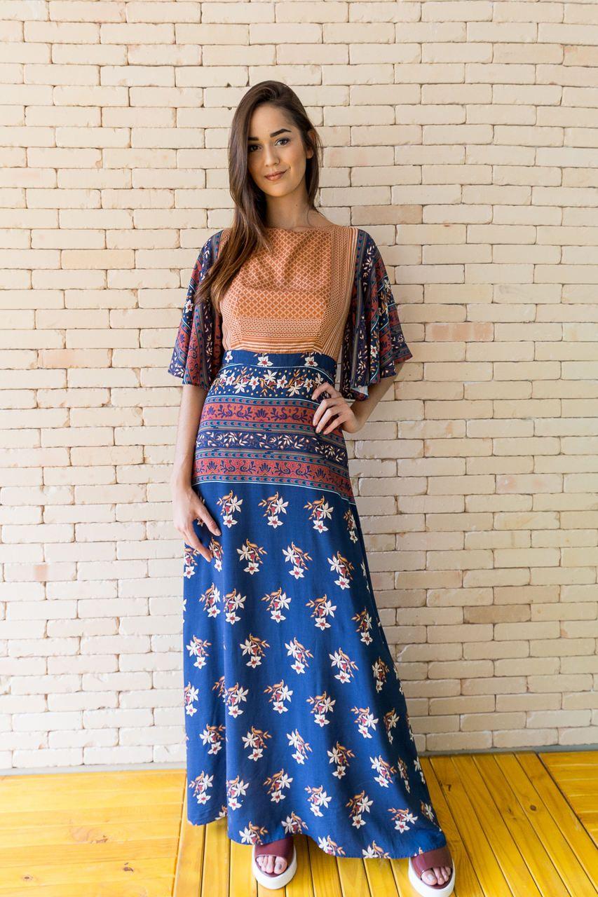 Vestido Longo Estampado com Barrado Floral