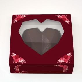 Caixa Deslizante Coração Lapidado c/ Visor - Todo Amor c/ 10 un