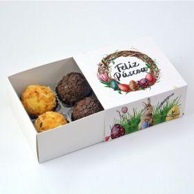 Caixa Deslizante para 4 doces - Páscoa Encantada c/10 un