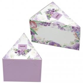 Caixa Fatia de Bolo - Floral Lilás c/25 un